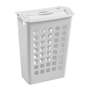 Корзина для белья, узкая, с поворотной крышкой, пластик, белый, 580 х 430 х 260 мм, 1/6