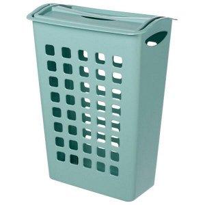 Корзина для белья, узкая, с поворотной крышкой, пластик, светло - голубой, 580 х 430 х 260 мм 1/6