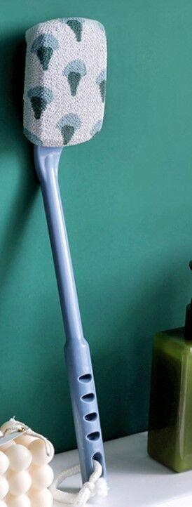 Мочалка, с ручкой, с принтом, цвет синий/белый