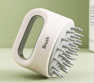 Щетка для мытья и массажа головы, цвет белый/серый