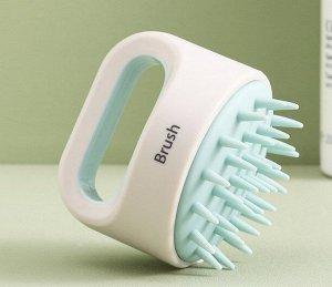 Щетка для мытья и массажа головы, цвет белый/голубой