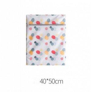 """Мешок для стирки , принт """"Разноцветные круги"""", в форме прямоугольника, среднего размера, цвет белый"""