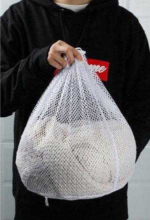 Мешок для стирки , с крупной сеткой, среднего размера, цвет белый