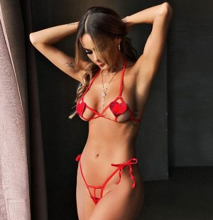 Женское белье на завязках, декор сердечки, цвет красный