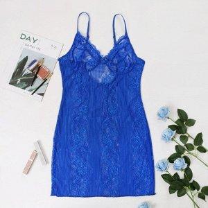 Женская кружевная сорочка, цвет синий