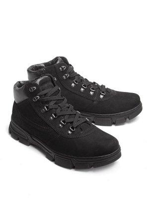 Ботинки зимние мужские, черный нубук