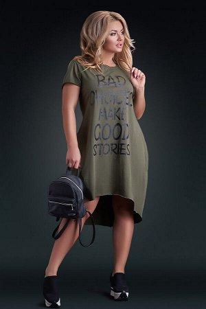 Платье-футболка цвета хаки с асимметрией
