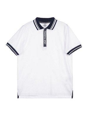 Фуфайка трикотажная для мальчиков (футболка - поло) белый/тёмно-синий