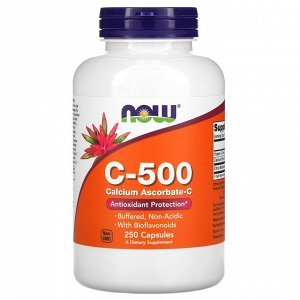 Now Foods, C-500, аскорбат кальция-C, 250 капсул
