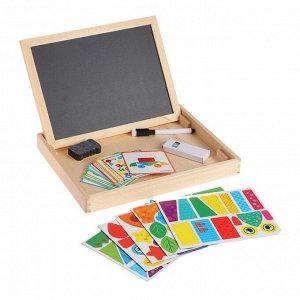 """Конструктор магнитный """"Геометрия"""" в дерев коробке + набор игровых карточ, мел, маркер, губка"""