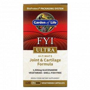Garden of Life, FYI Ultra, универсальная формула для суставов и хрящей, 120 вегетарианских капсул UltraZorbe