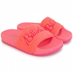 Сандалеты Цвет: 499 - ROSE FLUO Состав:100%текстиль/100%полимерный материал Pink terry slides. Logo print on insole in contrasted color and logo embroidery on upper. SOLD WITH HANGER.