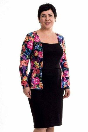 Платье Красивое платье с имитацией жакета. Цвет чёрный и цветочный принт. Рукав длинный. Без подклада. Материал: трикотаж вискоза. Длинна изделия 99 см в размере 50 Рост модели - 168 см. размер модели