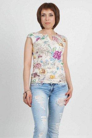 Блуза Блуза из трикотажного полотна. Рукав реглан. Круглый вырез дополнен небольшой рассечкой. Красивый цветочный принт. Длина изделия 80см. Рост модели 168 см., размер изделия 46. Состав вискоза 100