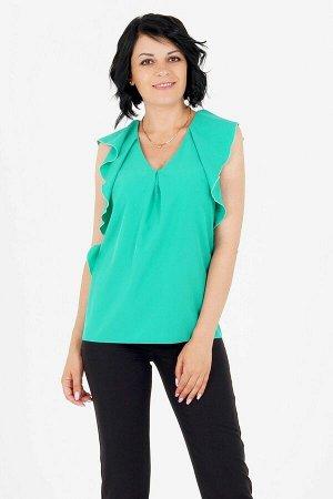 Блуза Блуза выполнена из эластичной блузочной ткани. Вырез горловины V-образный. Без рукавов. Низ прямой. Без подклада. ДИ в 42-44 р 63 см, в 46-48 р 66 см, в 50-52 р 68 см, в 54 р 69 см. Рост модели
