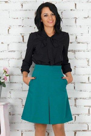 """Блуза Блуза с завязкой """"бант"""". Выполнена из эластичной блузочной ткани Рукав длиной48 см. Без застёжки. Без подклада. Низ прямой. ДИ в 42-44 р 63 см, в 46-48 р 64 см., в 50-54 р 66 см. Рост модели 16"""