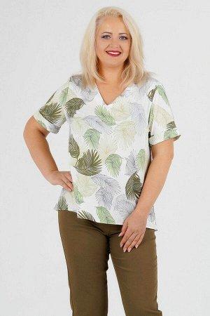 Блуза Блуза прямого силуэта. Выполнена из эластичной блузочной ткани. Вырез горловины V-образный. Рукав длинна 48-52 р 23 см, 54-58 р 24 см, 60-64 р 25 см. Без подклада. Без застёжки. ДИ в 48 р. пе