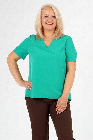 Блуза Блуза прямого силуэта. Выполнена из эластичной блузочной ткани. Вырез горловины V-образный.  Рукав длинна 48-52 р 23 см, 54-58 р 24 см, 60-64 р 25 см. Без подклада. Без застёжки. ДИ в 48 р. п