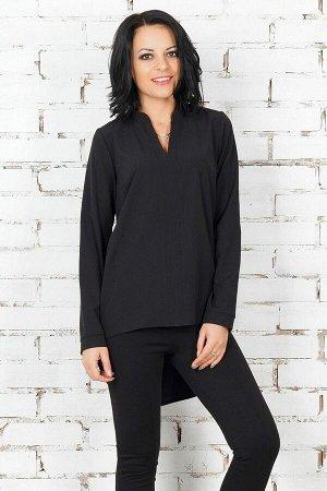 Блуза Блуза удлинённая с асимметричным низом. Выполнена из эластичной блузочной ткани. Воротник стойка. Без застёжки. Рукав длинный, 61 см. ДИ в 42-44 р 66 см по полке / 80 см по спинке, в 46-48 р 67