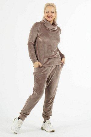 Комплект Комплект джемпер и брюки. Джемпер выполнен из трикотажного полотна велюр. Воротник хомут. Рукава длинные с манжетами 63 см. Низ на манжете. Без подклада. Без застёжки. ДИ в 48 р 65 см, в 50-