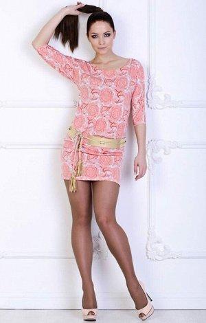 Платье Эффектное платье. Выполнено из тонкого эластичного трикотажного полотна. Круглый вырез горловины. Рукава 3/4 41см. Без застёжки. Без подклада. ДИ в 42-44 р 83см, в 46-48 р 84 см Пояс в компле