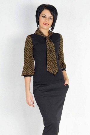 Блуза Блуза выполнена из трикотажного полотна и плотного шифона. Полка, спинка и манжет на рукаве из трикотажа. Пышный рукав и галстук из шифона. Длина рукава 49 см. ДИ 42р. 59 см. Рост модели 164 см