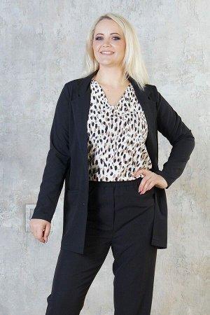 Жакет Жакет выполнен из эластичной костюмной ткани. Расцветка чёрный. Рукава длинные 61 см. С карманами. Без подклада. ДИ в 48-54 р 77 см, в 56-58 р 78 см, в 60-64 р 80 см. Рост модели 167 см., разме