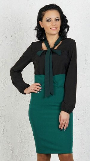 """Блуза Блуза с завязкой """"бант"""". Выполнено из эластичной блузочной ткани. Рукав длина 61 см. Без застёжки. Без подклада. Низ прямой. ДИ в 42-44 р 63 см, в 46-48 р 64 см., в 50-54 р 68 см. Рост модели 16"""