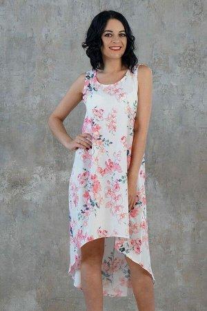 Платье Красивое платье свободного силуэта. Выполнено из плательной ткани. Расцветка орхидеи на белом. Круглый вырез горловины. Без рукавов. Низ платья ассиметричный. Без подклада. Без застёжки. ДИ в 4