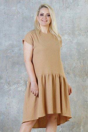 """Платье Свободное платье в стиле """"Бохо"""". Выполнено из хлопкового жатого полотна. Расцветка бежевый. Круглый вырез горловины. Короткие рукава. Без подклада. Без застёжки. ДИ в в 48-52 р середина переда"""