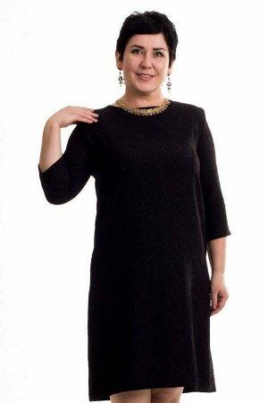Платье Платье из жаккарда фукро. Цвет синий чёрный. Рукав 3/4. Без подклада. Материал: трикотаж вискоза. Рост модели - 168 см. размер модели - 50. Состав: полиэстер 100%. . Состав полиэстер 100%. Мат