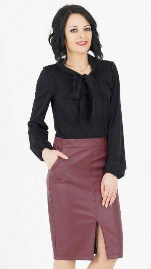 """Блуза Блуза с завязкой """"бант"""". Выполнена из эластичной блузочной ткани. Рукав длинный, 63 см. Без застёжки. Без подклада. Низ прямой. ДИ в 42-44 р 64 см, в 46-48 р 65 см., в 50-54 р 68 см. Рост модели"""
