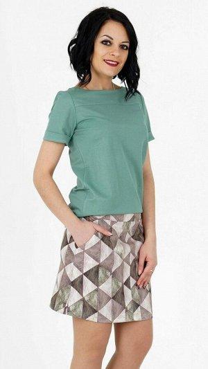 Блуза Блуза прямого силуэта из эластичной блузочной ткани. Вырез круглый. Рукав короткий 19 см с отворотами. Отрезная кокетка по полке. Низ прямой. Без подклада. Без застёжки. ДИ в 42-44 р 64 см, 46-
