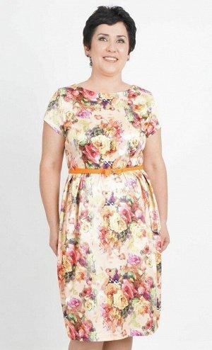 Платье Платье-тюльпан из сатина. Круглый вырез горловины. Короткий рукав. Отрезное по талии со встречными защипами по юбке. Без подклада. Потайная молния по спинке. Ремень в комплект не входит. ДИ