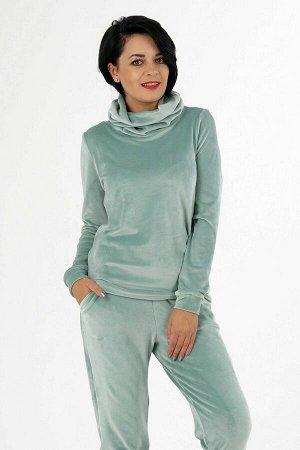 Комплект Комплект джемпер и брюки. Джемпер выполнен из трикотажного полотна велюр. Воротник хомут. Рукава длинные с манжетами 62 см. Низ на манжете. Без подклада. Без застёжки. ДИ в 42-44 р 60 см, в