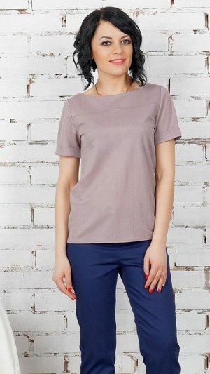 Блуза Блуза прямого силуэта из эластичнойблузочной ткани. Вырез круглый. Рукав короткий, длина 19 см с отворотами. Отрезная кокетка по полке. Низ прямой. Без подклада. Без застёжки. ДИ в 42-44 р 64