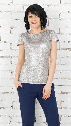 Блуза Блуза из трикотажного полотна. Круглый вырез горловины. Короткие рукава 16 см. Без застёжки. Без подклада. ДИ в 42-44 р 62 см, в 46-48 р 63 см, в 50-54 р 64 см. Рост модели 164 см.,42 размера.