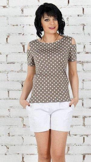 Блуза Блуза из трикотажного полотна. Круглый вырез горловины. Короткие рукава 14 см. Без застёжки. Без подклада. ДИ в 42-44 р 61 см, в 46-48 р 62 см, в 50-54 р 63 см. Размер с 42 по 54 Рост модели 164
