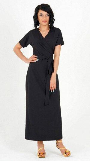 Платье Длинное платье на запах из плательной ткани. Ткань лёгкая, эластичная не просвечивает. Силуэт прямой. Рукава цельнокроенные, длинна от плеча в 42-44 р 28 см, в 46-48 р 29 см, в 50-52 р 30 см, в