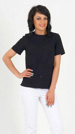 Блуза Блуза из хлопка с вышивкой. Прямой силуэт. Круглый вырез горловины. Короткие рукава, длина 20 см. Застёжка молния по спинке. Без подклада. ДИ в 42-44 в 60 см, в 46-48 р 62 см, в 50-54 р 64 см.