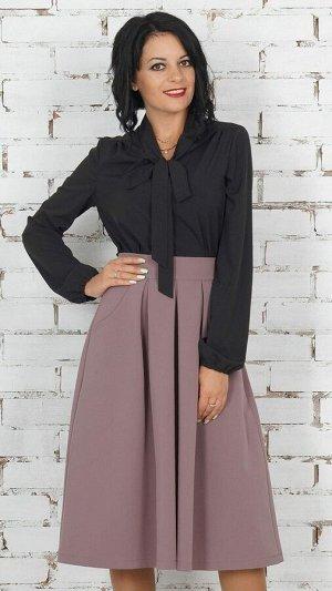 """Блуза Блуза с завязкой """"бант"""" из эластичной блузочной ткани. Рукав длина 63 см. Без застёжки. Без подклада. Низ прямой. ДИ в 42-44 р 63 см, в 46-48 р 64 см., в 50-54 р 66 см. Рост модели 164 см.,42"""