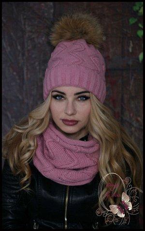 Вязаный набор Зиг-Заг(зима) розовый с помпоном из натурального меха енота..