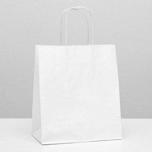 Пакет крафт без печати, белый, круглая ручка 22 х 12 х 25 см