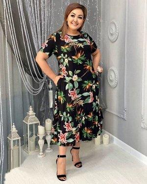 Платье Принт немного отличается, подробнее доп фото ОГ 124 см, длина 126 см