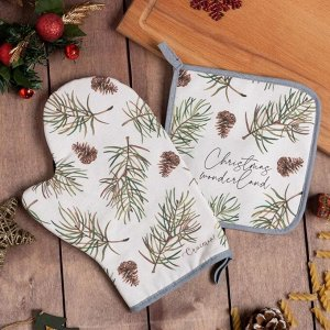 Набор кухонный Christmas tree варежка-прихватка 20х28см, прихватка 19х19см,100%хл