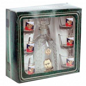 """Подарочный набор для коньяка """"Россия"""" (графин +6 стопок) – графин облагорожен образом Путина, а каждая стопка – миниатюрным гербом на фоне флага РФ №46"""