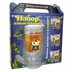 Подарочный набор для алкогольных напитков «ВМФ СССР» – пивной бокал и 3 стопки для создания той самой «Глубинной бомбы»