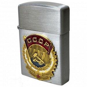 Зажигалка с накладкой в виде ордена Трудового Красного Знамени (газовая Zippo)№81