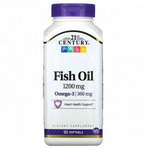 21st Century, рыбий жир, 1200 мг, 90 мягких таблеток