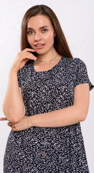 Платье штапель 5915/07/Темно-синий, белый